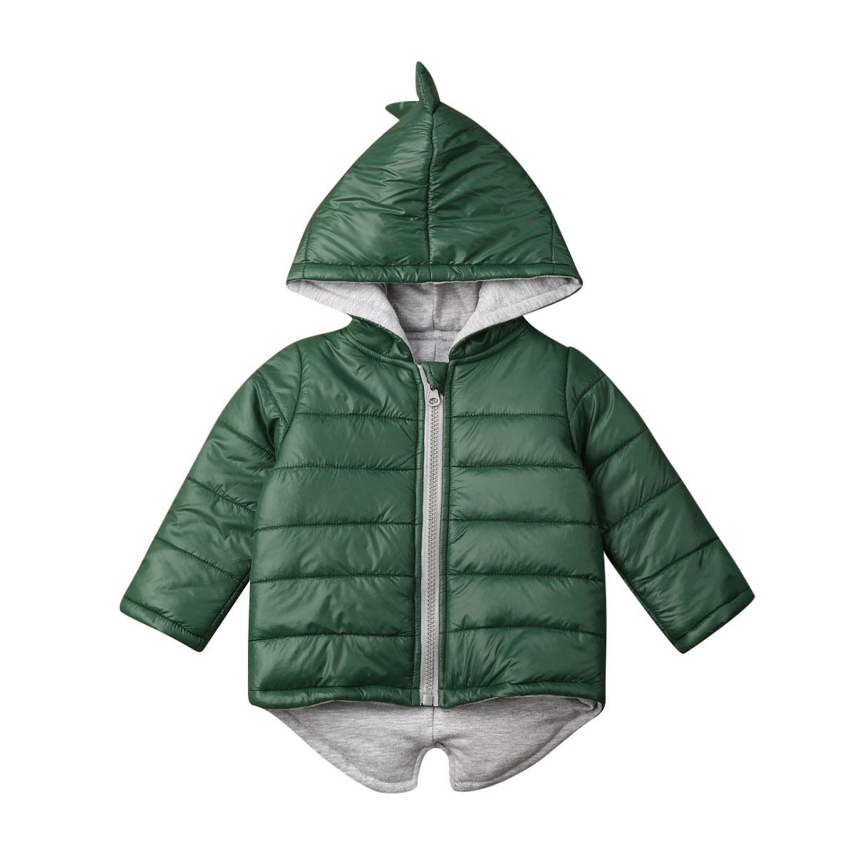 Kids Baby Girl Boy Clothes Padded Winter Coat Hoodie Dinosaur Jacket Top Warm Outwear