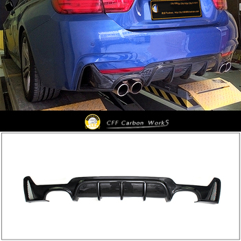 Rear Bumper Diffuser For BMW F32 F33 435i M Tech Quad Out 2014 2015 2016 217 2018 Carbon Fiber image