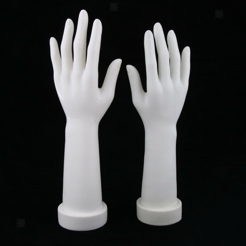 1 par mano de maniquí Base de exhibición de brazo guantes femeninos modelo de joyería blanco DIY mostrar accesorios izquierda/derecha envío gratis Pelo de 60cm con cabeza de maniquí, peluquería, modelo de maniquí para mujer, cabeza de maniquí con pinza, peluca roja, pelo largo