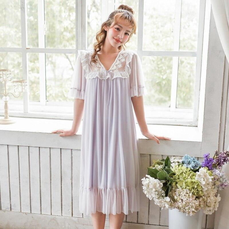 Summer Modal Women's Lace Long Nightgowns Sweet V-neck Short Sleeve Vintage Princess Cotton Sleepwear Multi Color Night Dress