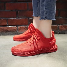 Hot Sale Breathable Mesh Yellow Red Sneakers Women Solid Colors Wedges Heels Shoes Woman Casual Light Vulcanized D0007
