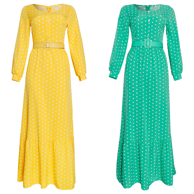 African Print Polka Dot Chiffon Dresses Maxi Abaya Kaftan Elegant  2