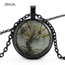 LIAOZEKUN,2019/New Retro Steampunk Life Tree Gear Necklace Bump Glass Men and Women Jewelry