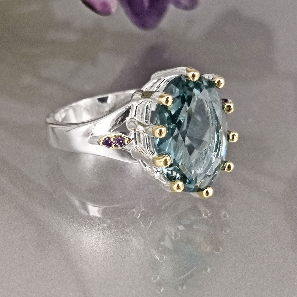 DreamCarnival1989 New Dusty Blue Zircon Solitaire Wedding Ring for Woman Delicate Cutting Dazzling Hot Bridal Jewelry WA11876BL 3