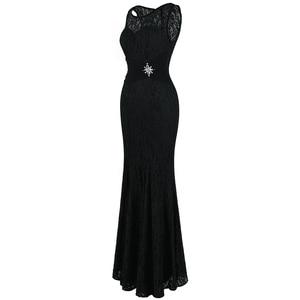 Image 3 - แองเจิลแฟชั่น Halter แขนกุด vestidos de Noche ชุดราตรียาวสีดำ 160 425 439 416 418 477