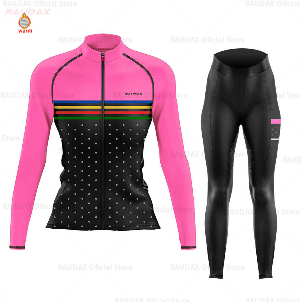 Cycling Jersey 2020 Women Pro Team Raudax Winter Fleece Cycling Clothing MTB Cycling Bib Pants Set Ropa Ciclismo Triathlon Set
