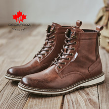 Man Lace-up Casual Boots 2019 New Autumn Ankle Botas Fashion Shoes Men Basic boots Men Comfy Leather Outdoor Walking Men's Boots(China)