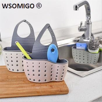 Kitchen Accessories Utensils Organizer Adjustable Snap Sink Soap Sponge Holder Kitchen Hanging Drain Basket Kitchen Gadgets-S 1
