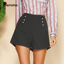 BEFORW 2019 New Women High Waist Black White Button Office Lady Shorts Ladies Summer Casual Korean version Style Loose Shorts