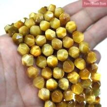 6 8 10 мм натуральный алмаз граненый Золотой Тигровый глаз круглые