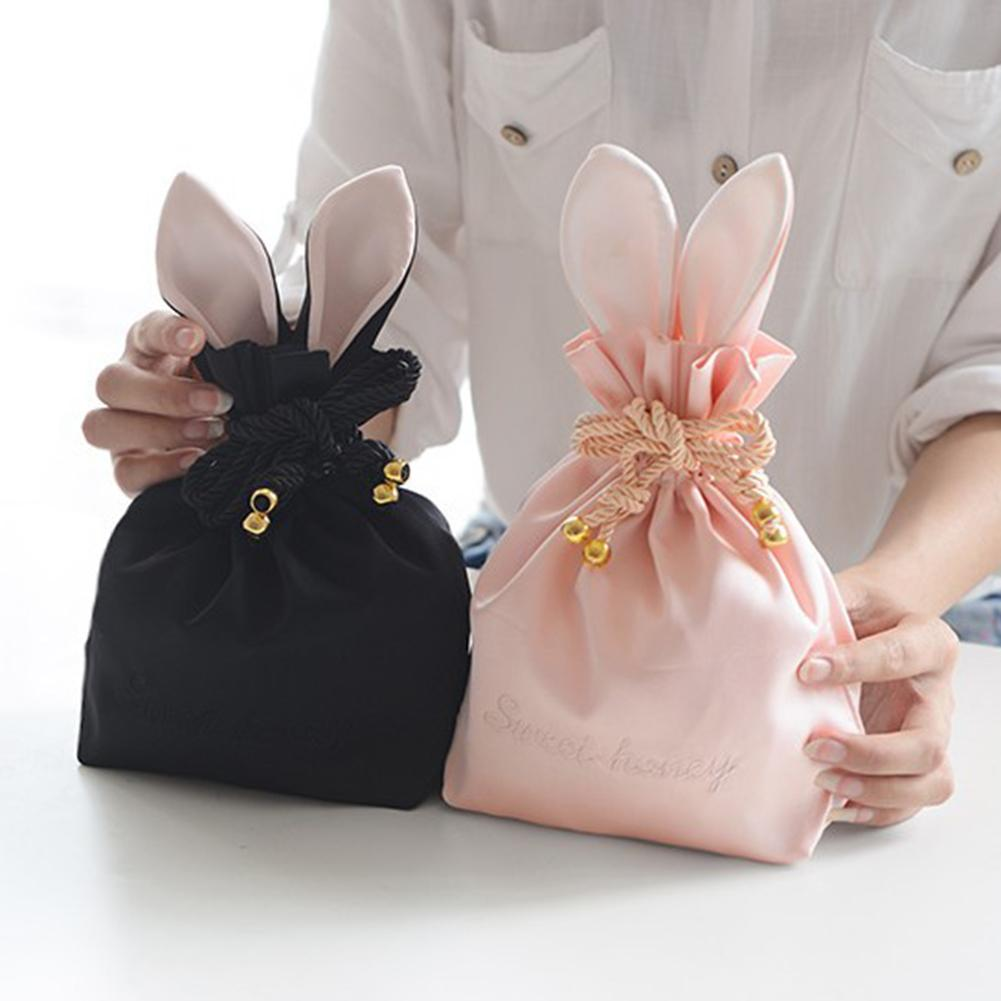 Easter Bunny Ears Drawstring Bag Hair Ball Cute Rabbit Portable Cosmetic Bag Jewelry Storage Bag Cute Drawstring Pouch Bag|  - title=