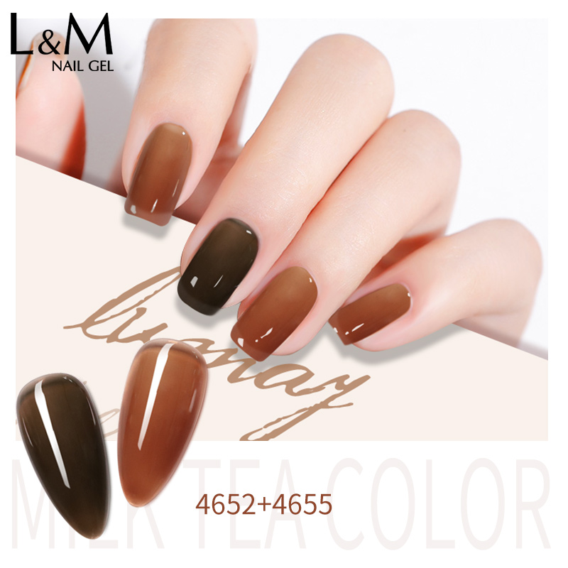 24 Colors Translucent Gel Polish 15ml Amber Jelly Glass Gel Nail Polish Laquer Brown Milk Tea Color Gel Nail Home Beauty