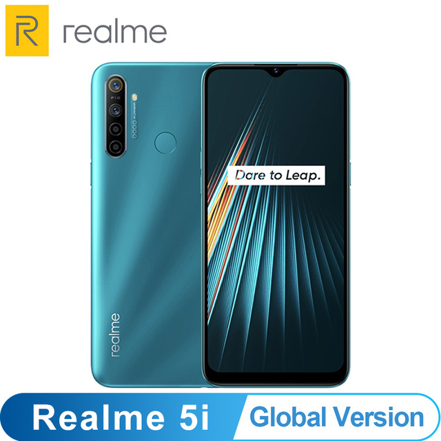 הגלובלי גרסה OPPO Realme 5i 4GB 64GB Snapdragon 665 AIE 12MP Quad מצלמה 6.5 Smartphone 1600x720 5000mAh 4G נייד טלפון
