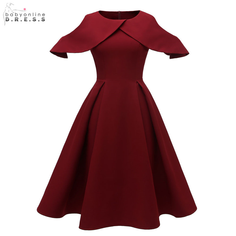 Burgundy Tea-length Evening Dress Elegant O-neck Navy Blue A-line Evening Gowns Fomal Dress 2019 Draped Robe De Soiree