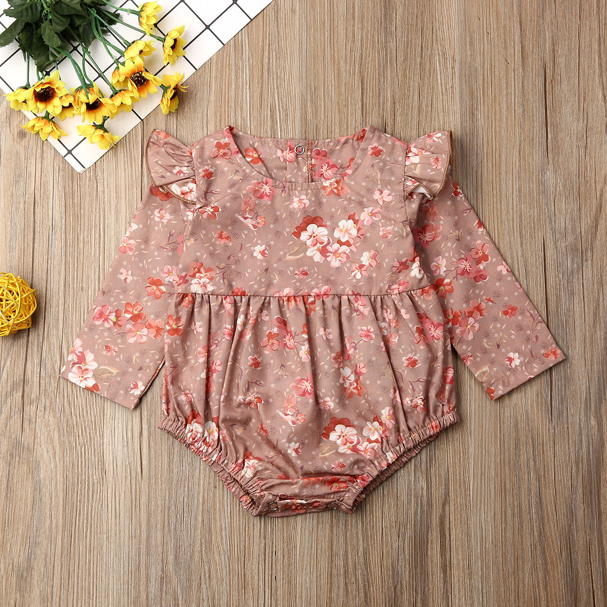 Pudcoco Newborn Baby Girl Clothes Flower Print Long Sleeve Cotton Romper Jumpsuit One-Piece Outfit Overall Clothes
