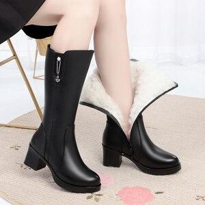 Image 4 - AIYUQI 신발 여성 발 뒤꿈치 부츠 2020 새로운 정품 가죽 겨울 부츠 여성 양모 Wram 큰 크기 42 43 긴 부츠 여성 구매