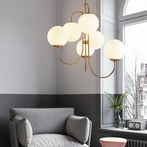 Image 1 - Современный подвесной светильник в скандинавском стиле золотого цвета с 6 стеклянными шариками, лампа молочного белого цвета для столовой, бара, ресторана, подвеска, Светодиодная лампа E27