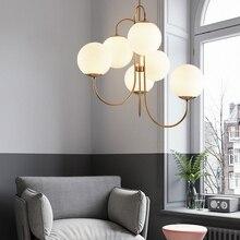 Lámpara colgante con bola de cristal, 6 luces, dorada, nórdica, moderna, Blanca leche, para comedor, Bar, restaurante, lámpara LED E27 de suspensión