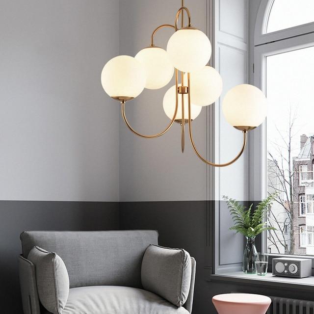 Modern Nordic Gold 6 Lights Glass Ball Pendant Light Lamp Milk White for Dining Room Bar Restaurant Suspension E27 LED Lamp