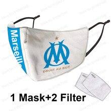 Máscara reutilizável para olympique de marselha futebol equipe frança protetor de futebol anti poeira 5ply pm2.5 filtro higiene máscara boca