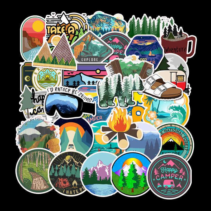 50 Stücke Camping Landschaft Aufkleber Outdoor Abenteuer SuitcaseLaptopGuita sw