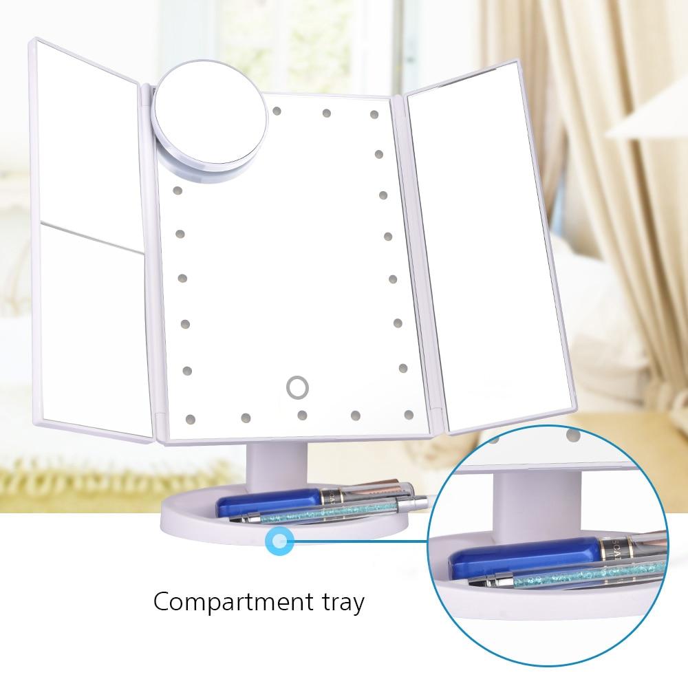 LED Touch Screen 22 Light Makeup Mirror Table Desktop 1X/2X/3X/10X Magnifying Vanity 3 Folding Adjustable 5