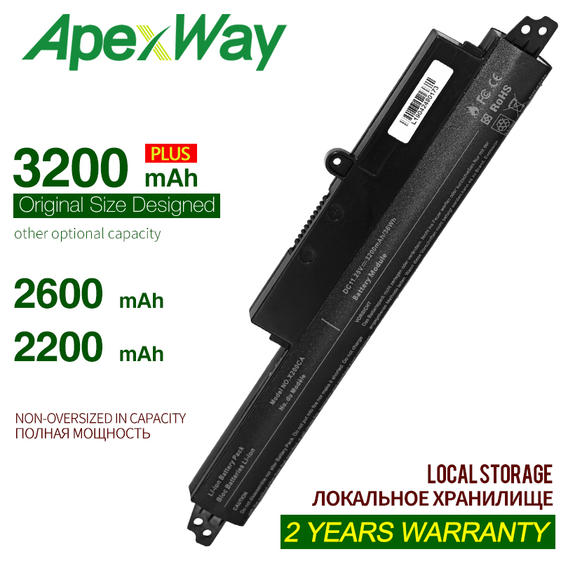 ApexWay Laptop Battery A31N1302 A31LM9H For ASUS VivoBook X200M X200LA X200CA X200MA R202CA F200CA F200M F200MA FX200CA A31LMH2