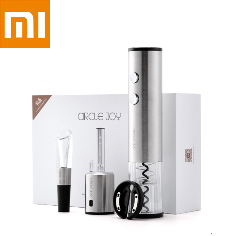 Xiaomi Mijia Circle Joy Automatic Electric Wine Bottle Opener Stainless Steel Wine Stopper Wine Decanter 4in1 Wine Set Gift