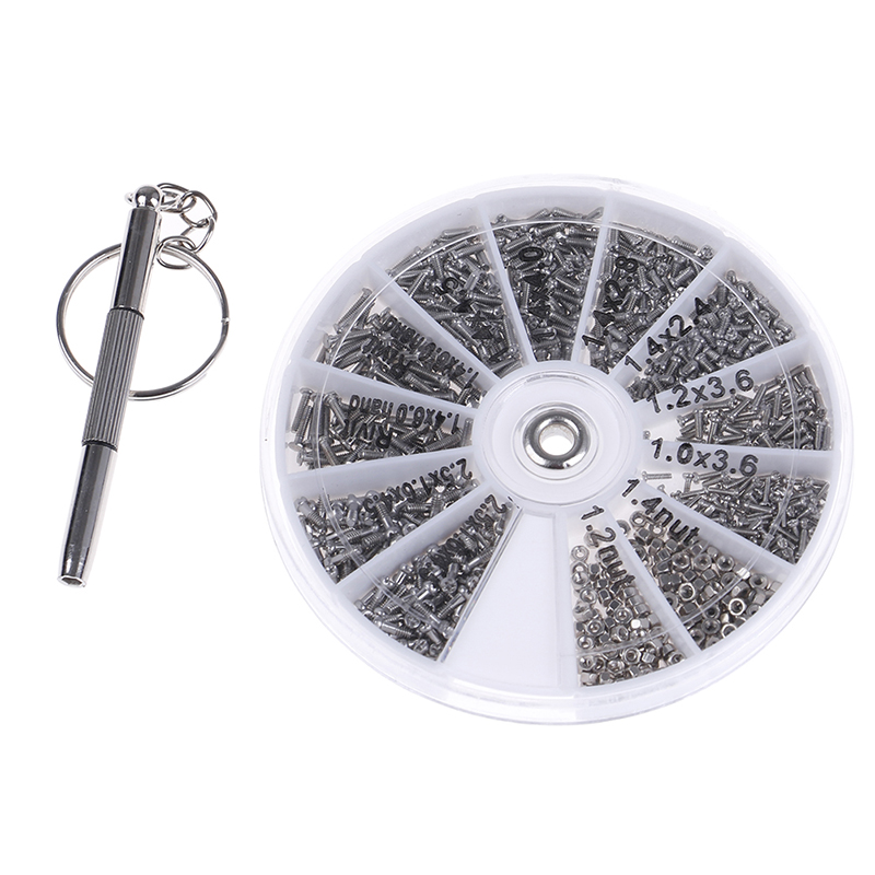 1000Pcs Screws Nuts Repair Kits 12 Kinds Stainless Steel Tiny Hex Assortment Kit + Screwdriver For Glasses Sunglass Watch