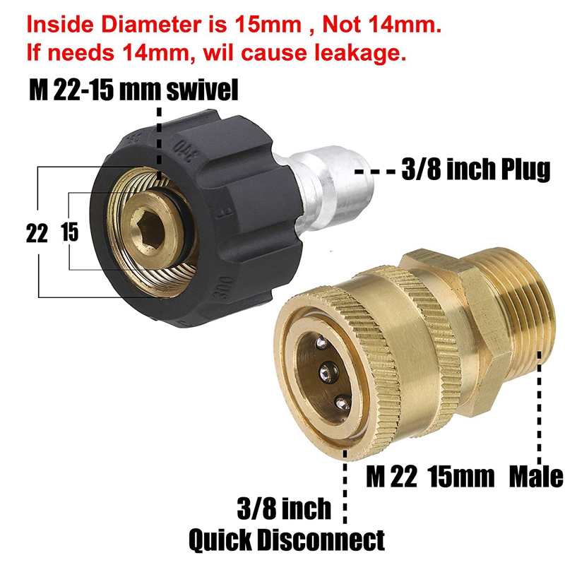 Pressure Washer Jet Wash 15mm Male to 16mm Female Joining Connection Adaptor