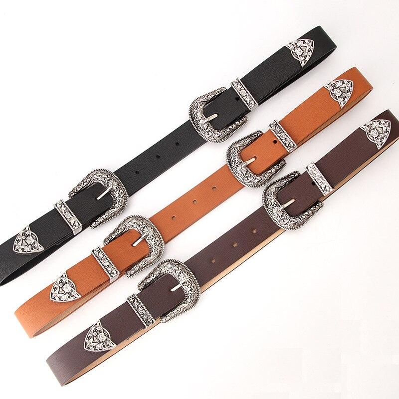 Винтажный черный, коричневый, кофейный женский металлический кожаный ремень в стиле бохо, пояс с двойной пряжкой, высококачественный пояс д...