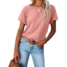 Summer Casual Cotton T-shirt Short Sleeve Women Solid Color Basic Tees Raglan Sleeves New Loose Short T-shirts 2XL Big Size
