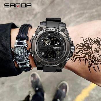 SANDA 739 sportowe męskie zegarki Top marka luksusowy wojskowy zegarek Quartz mężczyzn wodoodporna S szok mężczyzna zegar relogio masculino 2021 tanie i dobre opinie 24cm Podwójne wyświetlanie Rohs 3Bar Sprzączka CN (pochodzenie) STOP 17mm Z żywicy Kwarcowe zegarki bez opakowania RUBBER