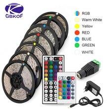 RGB 300 LED şerit ışık 5m 60LEDs/m 5050 SMD 2835 beyaz sıcak beyaz kırmızı mavi LED şerit 12V su geçirmez esnek bant halat şerit