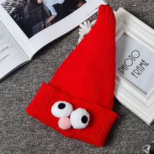Childrens cute candy color big eye decorate hats baby knitted sharp hat caps autumn and winter