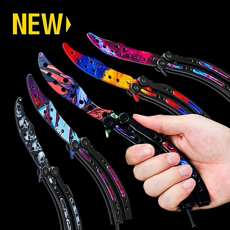 Karambit Colorful Butterfly Knife Adult Children Holiday CS GO Game Gift Toy Training Practice Throwing Folding Knife Knives