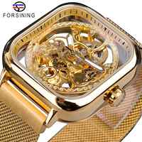 Forsining hommes montres mécaniques automatique auto-vent doré Transparent mode maille acier montre-bracelet squelette homme mâle heure chaude
