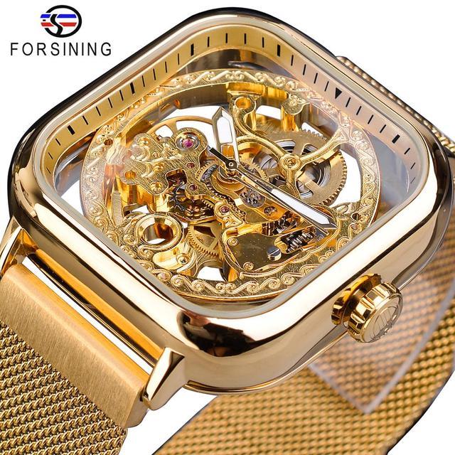 Forsining Men Mechanical Watches Automatic Self Wind Golden Transparent Fashion Mesh Steel Wristwatch Skeleton Man Male Hot Hour