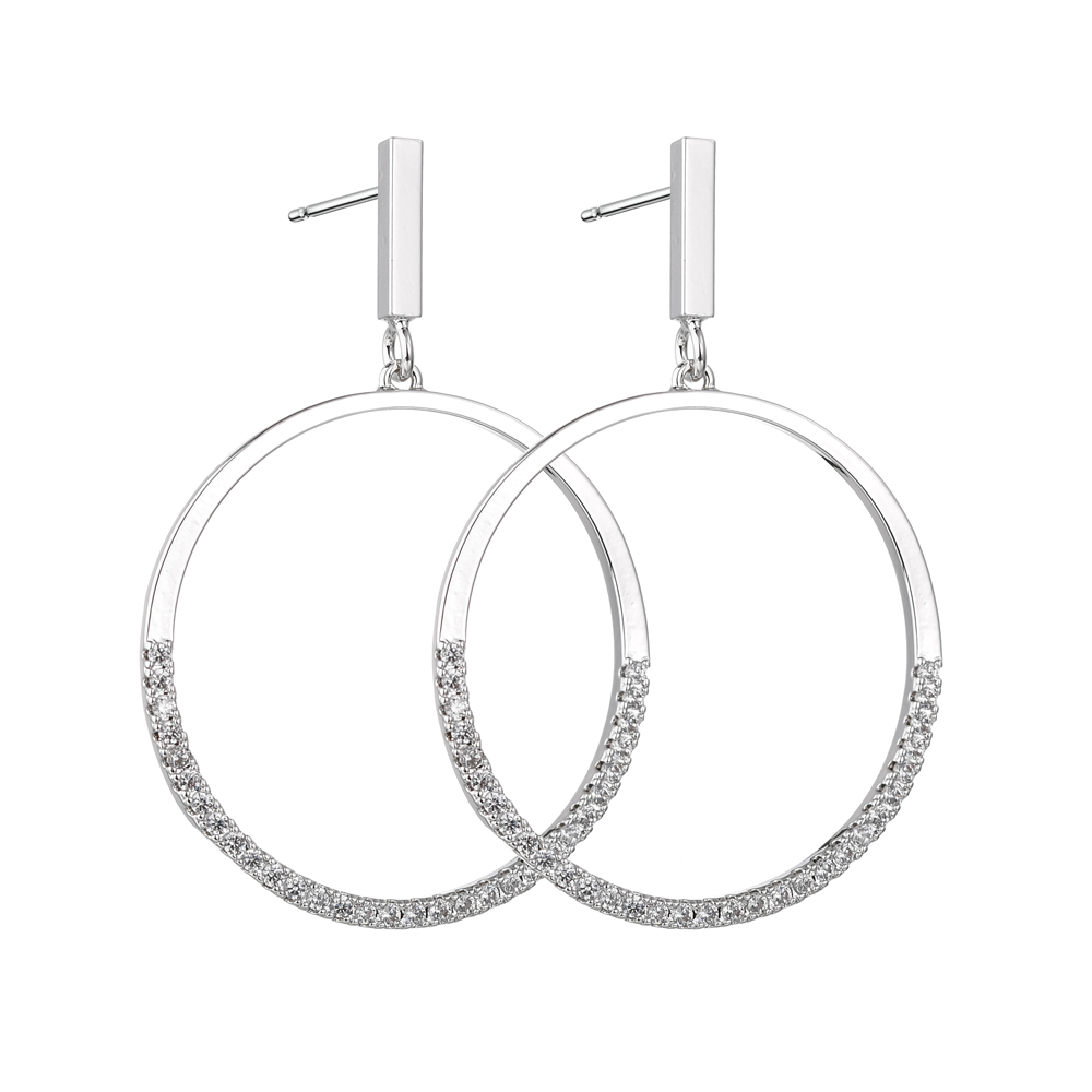 Hot Selling Big Hoop Earrings For Women Girls New Simple Zircon Crystal Round Earring Brincos Wedding Party