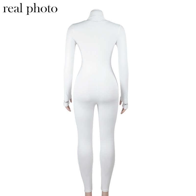 Simenual אימון פעיל ללבוש מצולעים Rompers נשים סרבל ספורטיבי ארוך שרוול כושר רקמת מכתב הדפסת רוכסן סרבלי