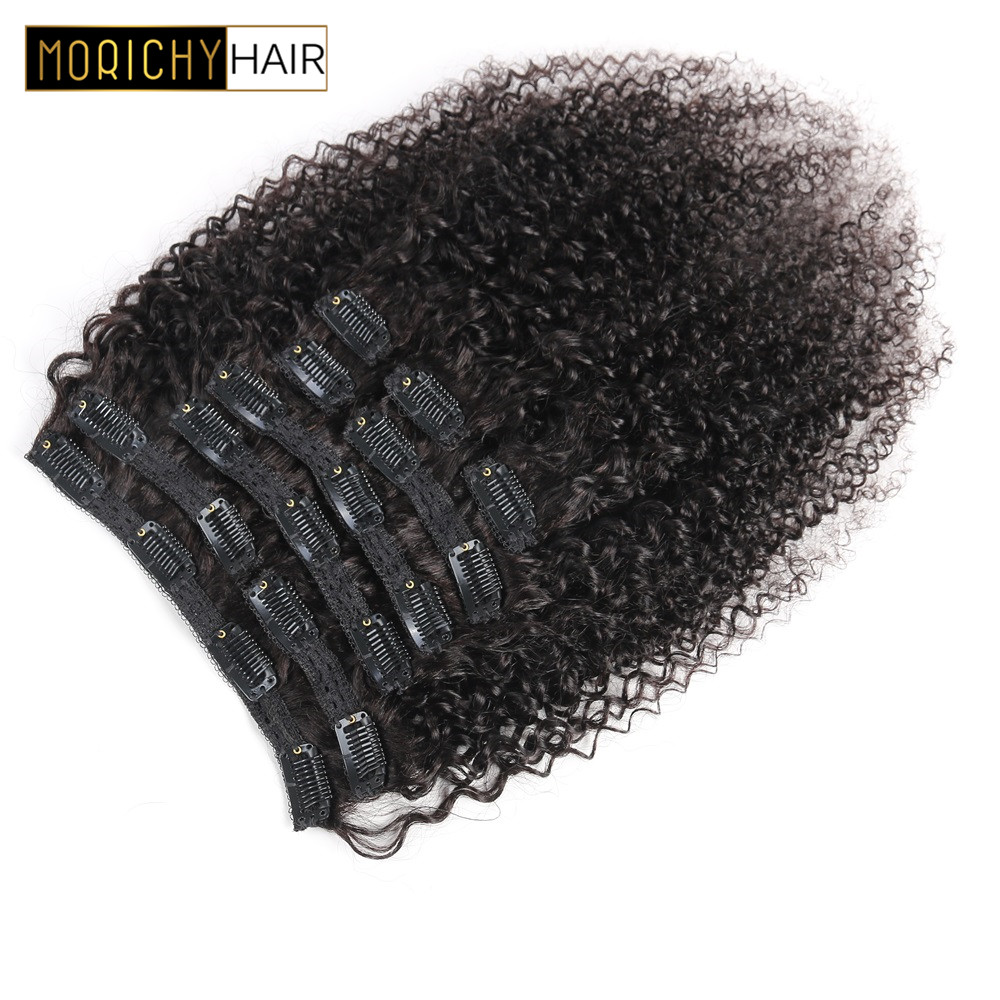 MORICHY Afo KInky Curly Clip Ins 10pcs/Set 120G Human Hair Extensions Mogolia Hair Natural Color