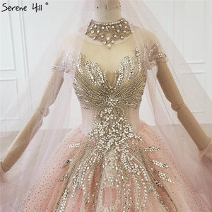 Image 4 - Gradual Change Pink Luxury High end Wedding Dresses 2020 Diamond Beading Sexy Bridal Gowns HX0074 Custom Made