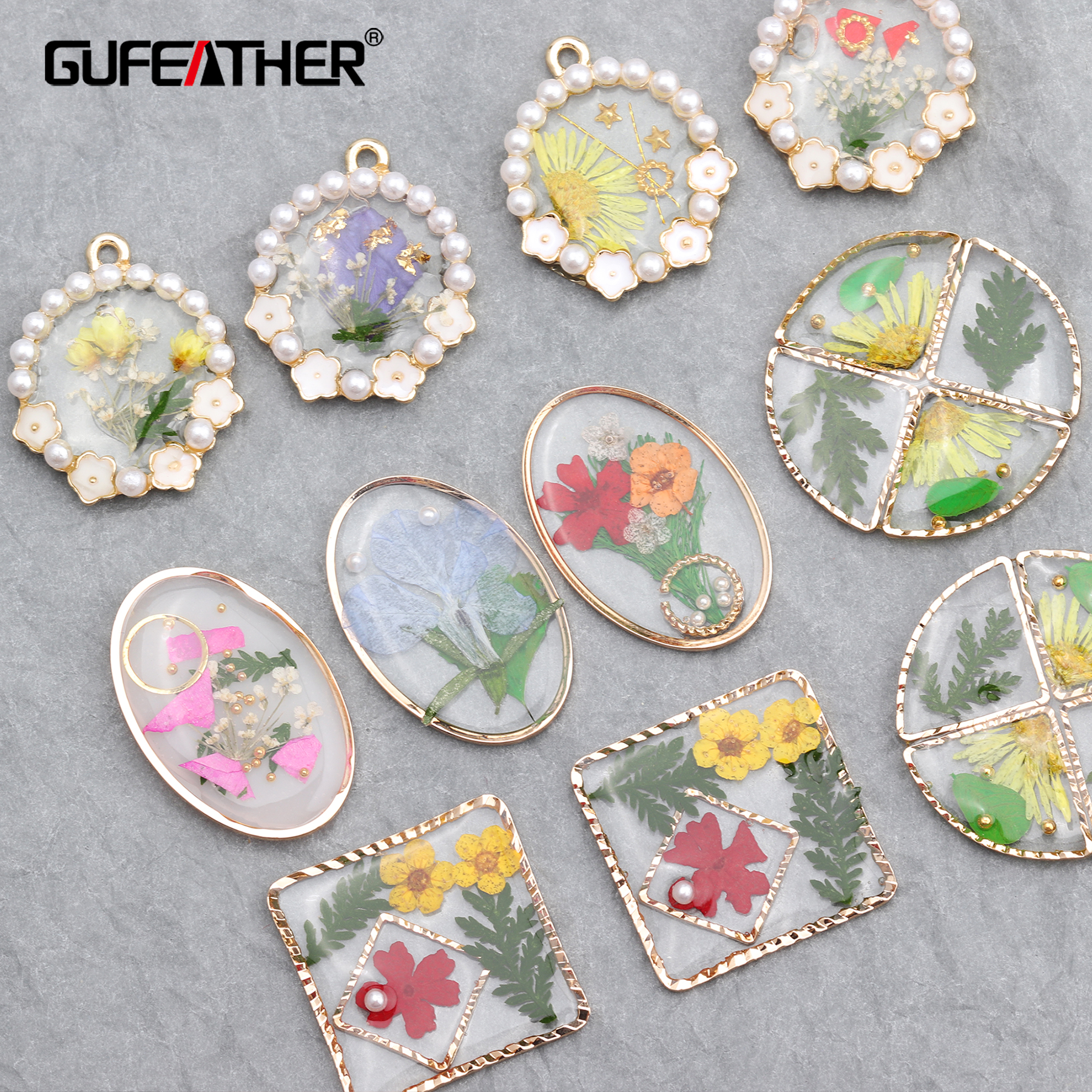 GUFEATHER M621,jewelry Accessories,resin,dried Flower,diy Beads Pendant,jump Ring,hand Made,jewelry Making,diy Earring,4pcs/lot