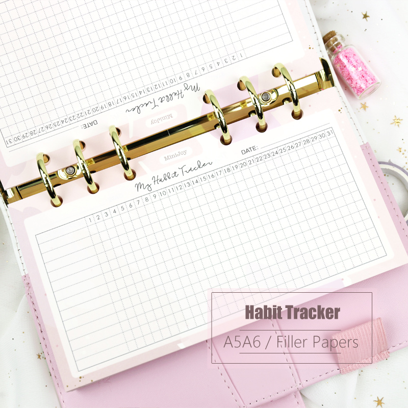 MyPretties Fantasy Habbit Tracker Refill Papers 40 Sheets A5 A6 Filler Papers For 6 Hole Binder Organizer Notebook Papers