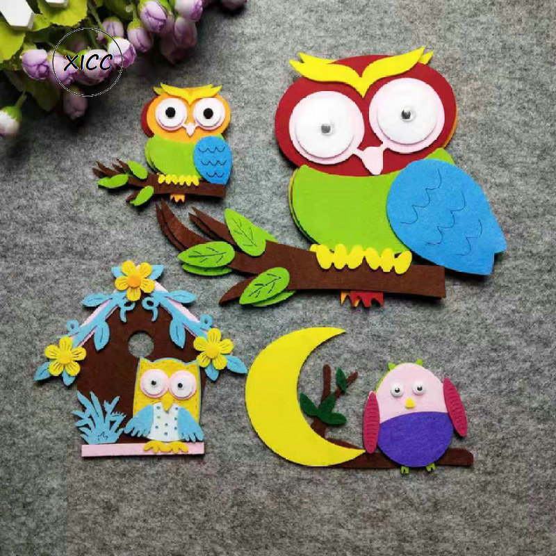 XICC Owl House Non-woven Felt DIY Kindergarten Wall Paste Decoration Beautiful Moon Leaves Cute Classroom Decoration Stickers
