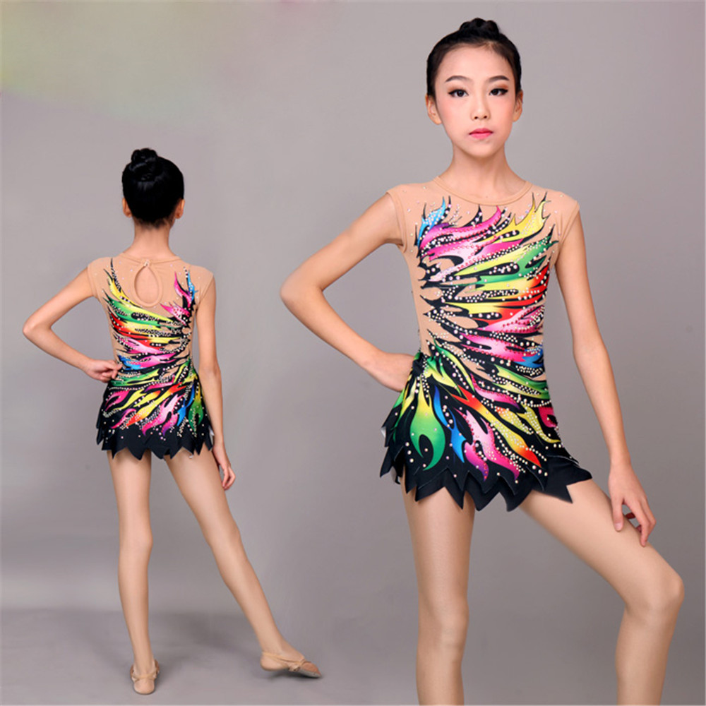 LIUHUO Women Rhythmic Gymnastics Leotards For Girls Performance Suit Artistic Gymnastics Dress Beautiful Print Sleeveless