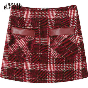 Image 5 - ELFSACK Rosso Plaid Patchwork In Pelle Tasca Mini Pannello Esterno Delle Donne 2020 di Inverno Nuovo Colorblock Skinny Donna Calore Gonne di Lana
