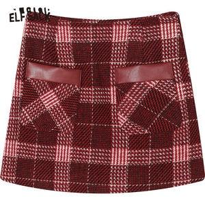 Image 5 - ELFSACK kırmızı ekose deri Patchwork cep Mini etek kadın 2020 kış yeni Colorblock sıska kadın Warmness yünlü etekler