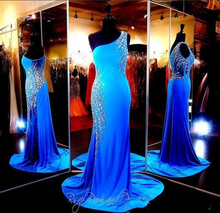 Синее облегающее вечернее платье на одно плечо прозрачное Привлекательное