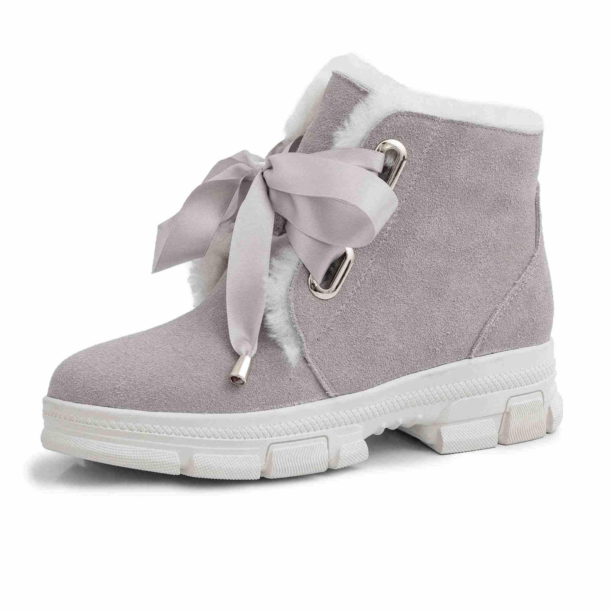 Krazing Pot rahat rahat sıcak kar botları tutmak karışık renk med topuklu yuvarlak ayak kış moda dantel kadın yarım çizmeler l62